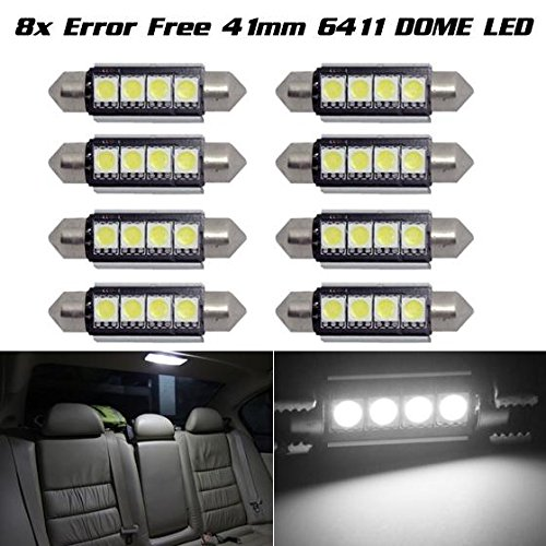 Partsam 8) Xenon White 42MM 4SMD Error Free festoon LED Bulbs For Car Interior light For 2007-2012 Ford F-250 Super Duty