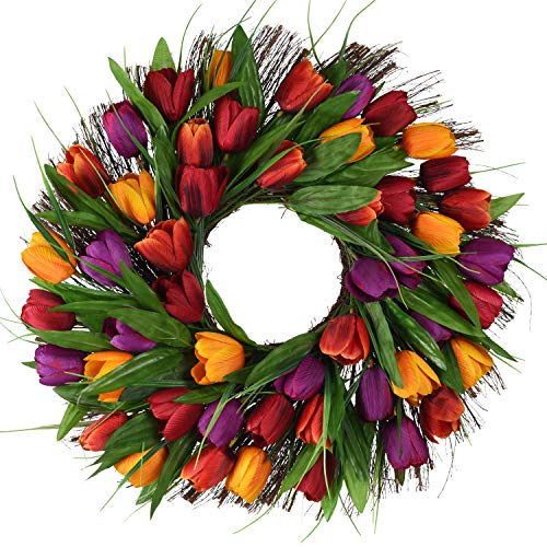 17inch Tulip Wreath Door Wreath,Artificial Flower Tulip Floral Twig Door Wreath Spring Wreath for Front Door Mother Day's Wreath]()