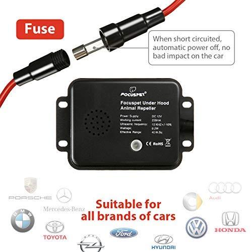 Focuspet 2er Pack Marderschreck Auto Marderschutz f/ür Auto 12 kHz Frequenz Marderabwehr Marderfrei mit Blitzlicht und Ultraschall Anschluss an 12V Autobatterie