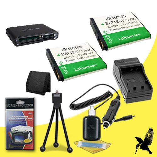 Two Halcyon 1200 mAH Lithium Ion Replacement BP-70A Battery and Charger Kit + Memory Card Wallet + Multi Card USB Reader + Deluxe Starter Kit for Samsung ES91 Digital Camera and Samsung BP-70A by Halcyon