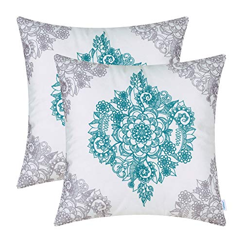 CaliTime Pack of 2 Cozy Throw Pillow Cases Covers for Couch Bed Sofa Manual Hand Painted Print Vintage Mandala Floral 18 X 18 Inches Grey/Teal (Print Couch Floral)