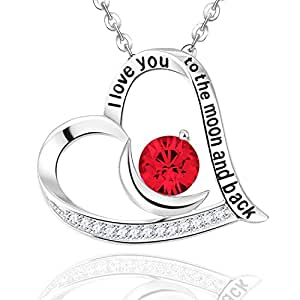 """Glowing Love"" Sterling Silver Ruby Heart Pendant Elda&Co July Birthstone Jewelry with Moon Necklace, 18+2''"
