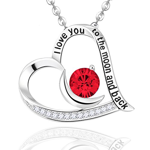 Sterling Silver Ruby Heart Pendant Elda&co July Birthstone Jewelry With Moon Necklace, 18+2''