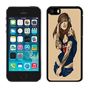 NEW DIY Unique Designed iPhone 5C Generation Phone Case For Music Tattooed Girl with Headphones Phone Case Cover