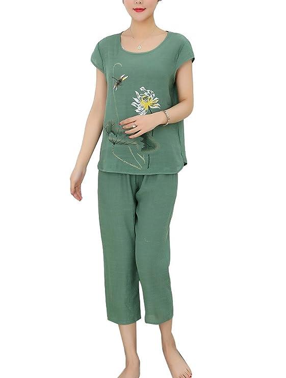Pijamas Mujer Set Ropa De Dormir Pijama Conjunto Con 2 Piezas Pantalón Corto Y Camisetas: Amazon.es: Ropa y accesorios