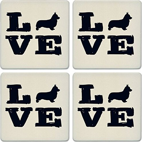 CoasterStone Absorbent Coasters (Set of 4), Pet Love Corgi, 4-1/4""