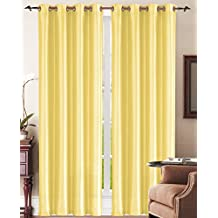 Simple Elegance New York Faux Silk Window Curtain with 8 Metal Grommets, Yellow