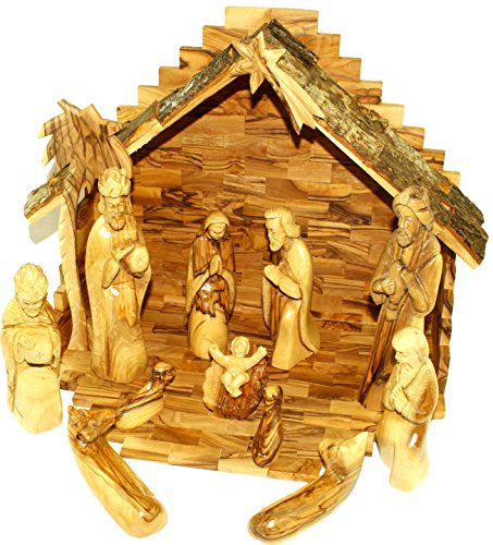 Olive Wood Large Nativity Set figures and Large House 14 in wide house (Vintage Bark Top) by Holy Land Market