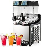 VBENLEM Commercial Slushy Machine110V 600W Frozen Drink Machine Commercial Slushy Maker for Supermarkets Cafes Restaurants Snack Bars 15Lx2Tank