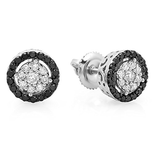 (Fingalo 0.50 Carat (ctw) 10K White Gold Round Black And White Diamond Ladies Circle Cluster Stud Earrings 1/2 CT)