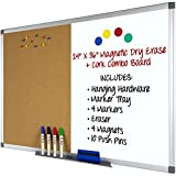 Magnetic Dry Erase and Cork Combo Board: 24x36, Aluminum Frame with 4 Markers, 4 Magnets, 10 Push Pins, 1 Eraser, Marker Tray & Hanging Hardware Included