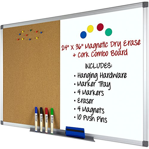 Magnetic Dry Erase and Cork Combo Board: 24x36, Aluminum Frame with 4 Markers, 4 Magnets, 10 Push Pins, 1 Eraser, Marker Tray & Hanging Hardware Included -