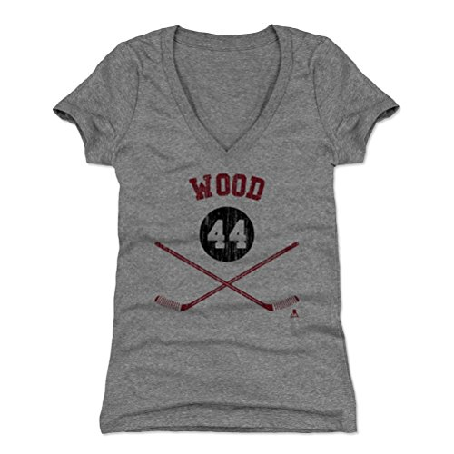 500 LEVEL's Miles Wood Women's V-Neck Shirt Small Tri Gray - New Jersey Hockey Fan Apparel - Miles Wood New Jersey Sticks R