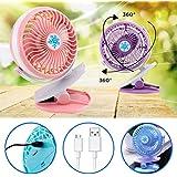 Clip Fan, Iusun Portable Mini Fan Rechargeable Battery USB Desk Fan For Baby Stroller & Car