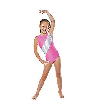 Girls Gymnastics Leotard Sleeveless Lycra with Silver Stripe GYM5 (Flo  Pink 60bb2c5c28c