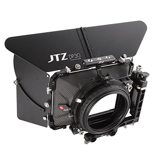 JTZ DP30 Cine Carbon Fiber 4x5.65 Inch Swing-Away Matte Box w/ 15mm / 19mm Rod Rail + Top Handle for Sony FS5 FS7 ARRI RED Canon C100 C200 C300 BMD - 19 Rails Mm