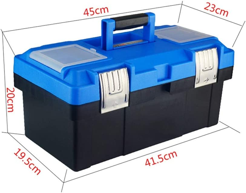 Storage For Tools Plastic Toolbox with Tray Comfort Handle and Latch Toolbox for Daily Tool Parts Storage Storage Portable Tool box (Color : Black-B) Navy Blue-c