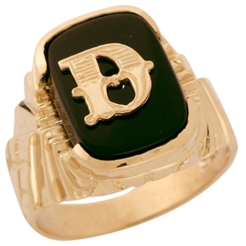 10k Solid Gold Fancy Nugget Design Onyx Letter D Mens Initial Statement Ring -