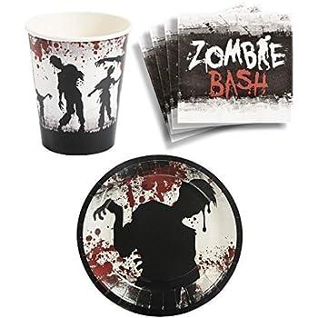 Amazoncom Zombie Birthday Party Supplies Set Plates Napkins Cups