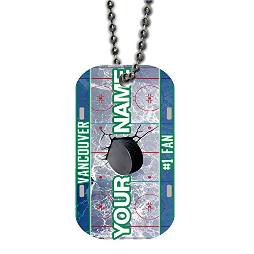 BleuReign(TM) Personalized Custom Name Hockey Team Vancouver License Plate Single Sided Metal Military ID Dog Tag with Beaded Chain