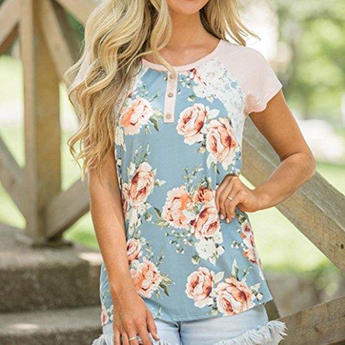 a35b15fd0f LuckyGirls Camisetas Mujer Originales Manga Corta Verano Floral Estampado  Encaje Casual Remeras Blusas Camisas