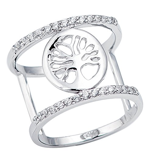 Tree of Life Chamber Double Chamber Armor Sterling Silver Cz Ring - Co & Germany Tiffany