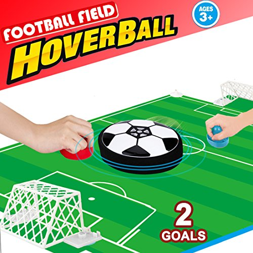 Air Hockey Table Soccer Games- Desktop Mini Hover Ball with 2 Gates Set Board Game Fitness Sports Air Power Training Football Family Party Favors Supplies Gift for Kids Girls Boys (Foot Air Hockey Table Game)