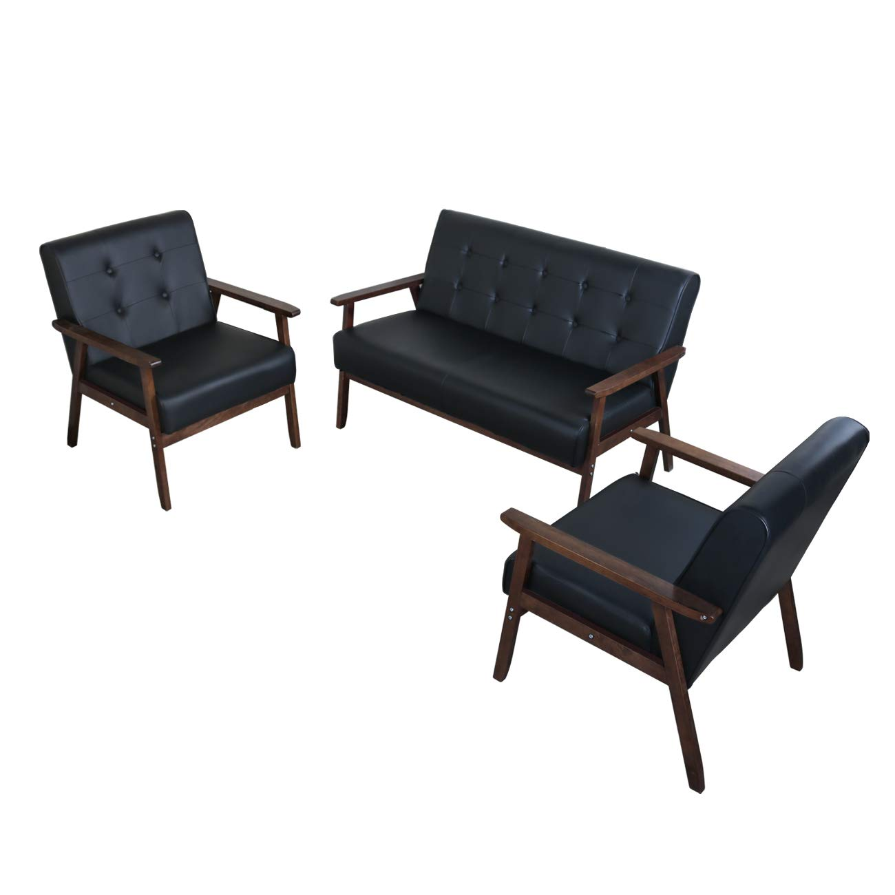 JIASTING Mid Century 1 Loveseat Sofa and 2 Accent Chairs Set Modern Wood Arm Couch and Chair Living Room Furniture Sets (8428 Black Set) by JIASTING