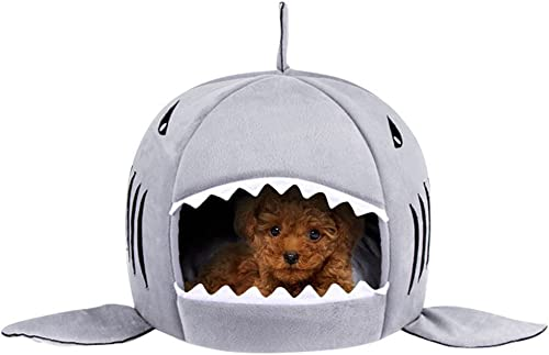 TORDES Washable Shark Pet House Cave Bed for Small Medium Dog Cat Puppies with Removable Cushion and Waterproof Bottom