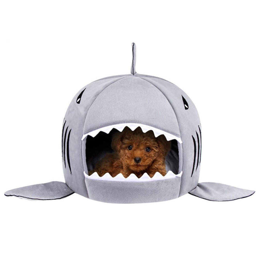 Washable Shark Pet House Cave Bed for Small Medium Dog Cat with Removable Cushion and Waterproof Bottom by Likedog