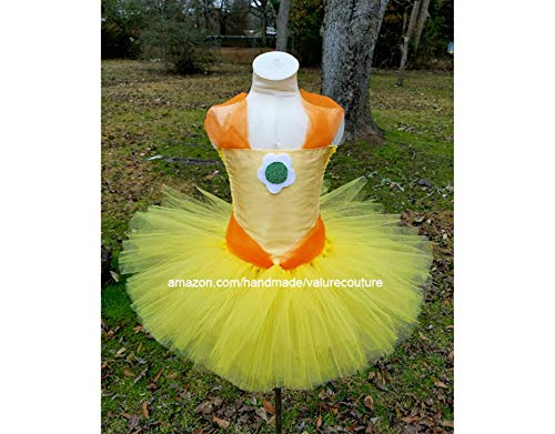 Princess Daisy Inspired Tutu Dress Costume Pageant Birthday Halloween Girls Newborn Infant Toddler Baby Outfit Onesie Shirt Bow Party Kids Gift Topper Favors -