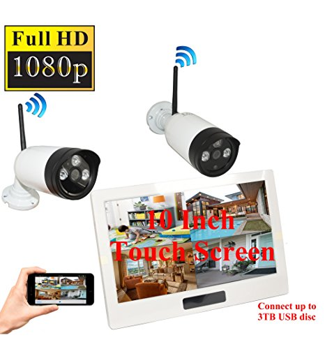 al Wireless Home Security Camera System 4CH 10 Inch HD Touch Split Screen LCD Monitor Indoor Outdoor 2.0 Megapixel Camera Security Network ()