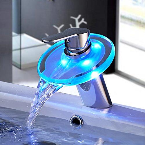 Auralum® LED RGB Glas Waschtisch Wasserhahn Wasserfall Armatur Waschbecken Einhebelmischer Mischbatterie für Badzimmer