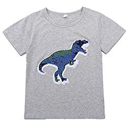 Flip Sequins Dinosaur Cotton T-Shirts