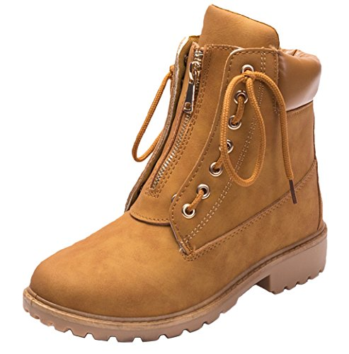 Up Boots Combat Lace Outdoor Brown Zip Women's DADAWEN Trekking Ankle xcFqIZaxwC