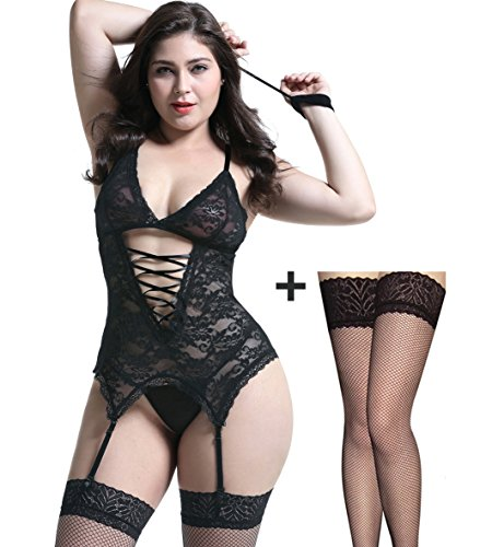 Sexy Lingerie Set Upgraded Stretch Lace Sexy Black Teddy Lingerie Bodysuit Large (Teddy Lingerie Set)