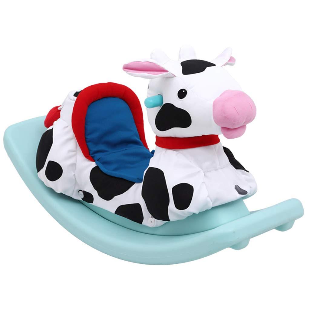 Schaukelpferd Schaukeltier Kindergarten Kinder Baby Kunststoff kleine hölzerne Pferd Spielzeug Schaukelstuhl Stoffbezug (Farbe : Gelb)