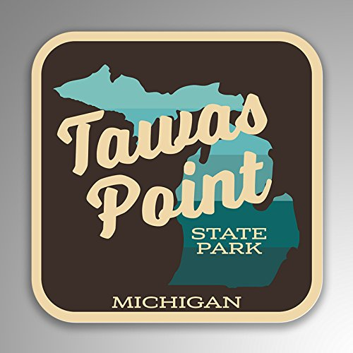 JMM Industries Tawas Point State Park Michigan Vinyl Decal Sticker Retro Vintage Look 2-Pack 4-inches by 4-inches Premium Quality UV Protective Laminate SPS257 ()