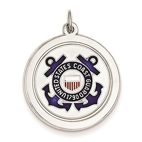 (925 Sterling Silver Enamel Polished US Coast Guard Logo Round Disc Charm Pendant)