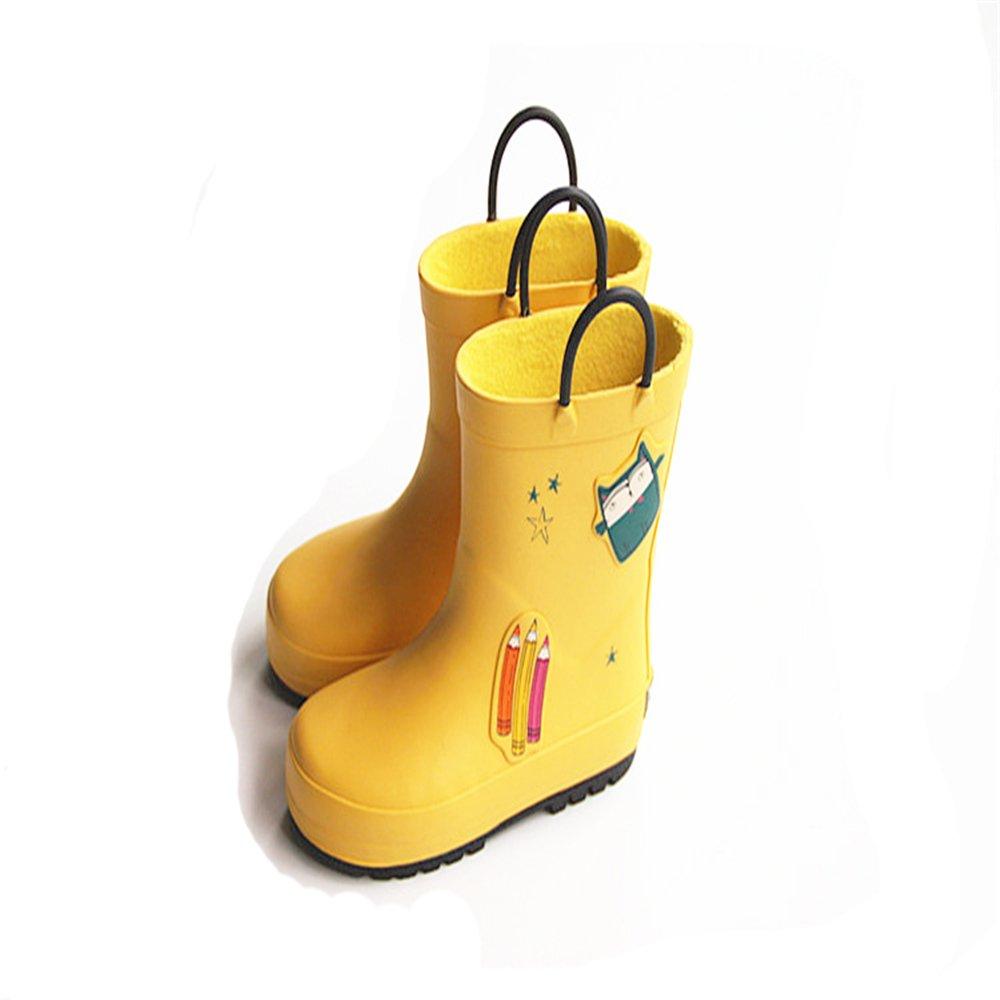Fashion Waterproof Non-Slip Easy-On Rubber Rain Boots Toddler//Little Kids