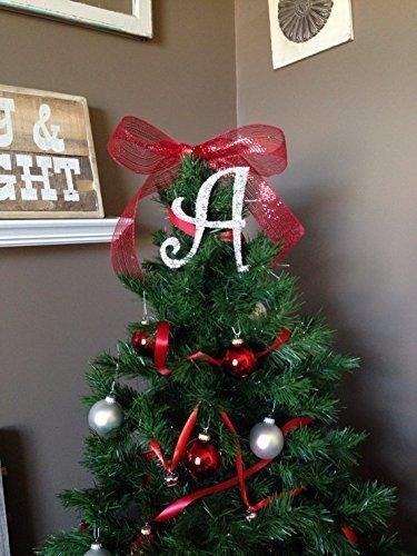"8"" Decorative Silver Glitter Monogram Christmas Tree Topper, Letter  Wreath, Initial, Wedding - Amazon.com: 8"