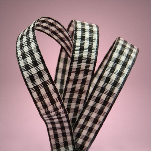 Black Gingham Ribbon, 3/8