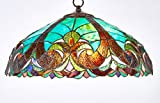 Diamond Life Tiffany Style Stained Glass Hanging Lamp Ceiling Fixture TL16012 - 18-inch wide