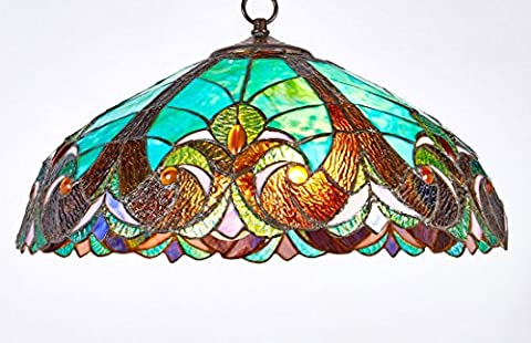 Diamond Life Tiffany Style Stained Glass Hanging Lamp Ceiling Fixture TL16012, 18-inch wide - Diamond Style Light