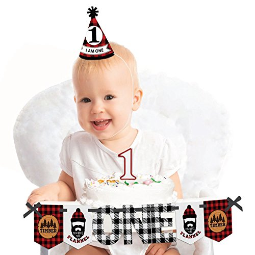 Big Dot of Happiness Lumberjack - Channel the Flannel 1st Birthday - First Birthday Boy Smash Cake Decorating Kit - High Chair Decorations