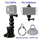 SIOTI Suction Cup Mount + Stainless Lanyard + Cellphone Clamp for GoPro Hero 6 5 4 3+ 3 2 1 Session and iPhone Samsung Cellphone