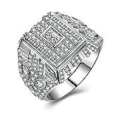 Bishilin Silver Plated Cubic Zirconia Inlaid Men Wedding Ring Silver Band Size BISHILIN5X6JRS174M13