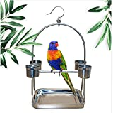 TUDIO Bird Play Stand,Stainless Steel Parrot Bird Perch Stand With Hook And Food Bowls,Hanging Play Gym Playstand,L