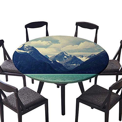 Atlantic Desk Maple (The Round Table Cloth Nature Northern Norway Mountains and Atlantic Coastline Picture Print White Indigo for Birthday Party, Graduation Party 35.5