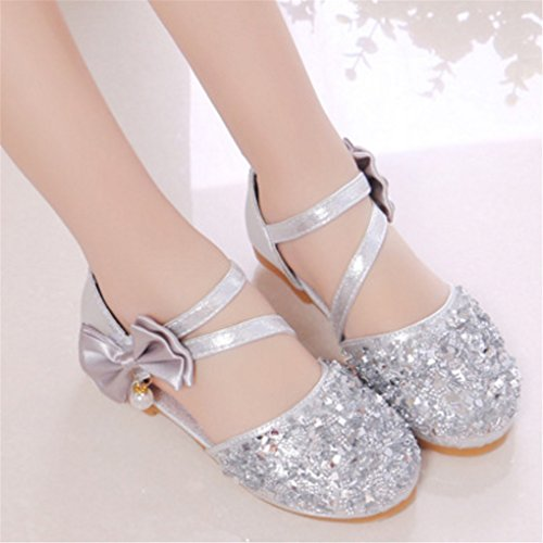 6eb54aa13adb lakiolins Toddler Girls Summer Closed Toe Bling Sandals Princess Flat Shoes  with Bowknot Pearls Ankle Straps